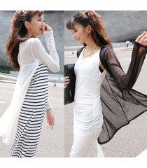 new fashion women long sleeve soft mesh sheer garn cardigan slim tops shirt coat