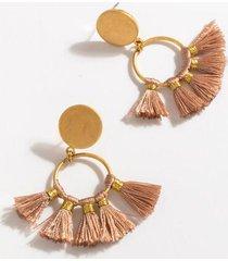 finley tassel circle drop earrings - pale pink