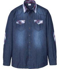 camicia in jeans con dettagli a quadri (blu) - john baner jeanswear