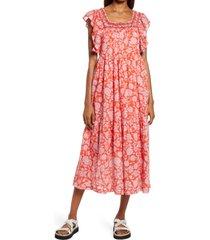 free people bonita floral print dress, size medium in pop combo at nordstrom