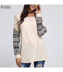 zanzea para mujer de las tapas del algodón suéter de manga larga ocasional de la camisa de la blusa del suéter del puente -beige