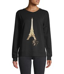 sequin eiffel tower graphic sweatshirt