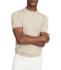 men's reiss romer slim fit short sleeve sweater, size medium - beige