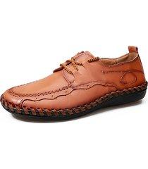 scarpe casual stringate da uomo in pelle morbida con cuciture a mano