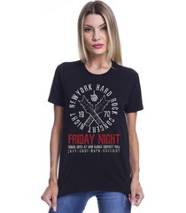 camiseta básica ny friday night preta joss