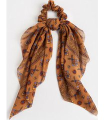 nela floral border print pony scarf - tan