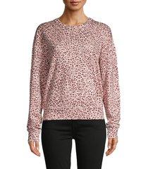 n:philanthropy women's leopard-print cotton-blend sweatshirt - blossom - size l