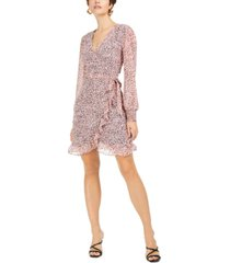 bar iii chiffon ruffle wrap mini dress, created for macy's