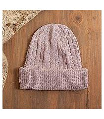 100% alpaca knit hat, 'comfy in pink' (peru)
