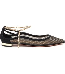 bond girl gold-tone chain anklet ballerina flats