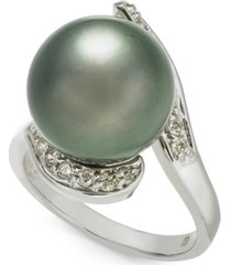 cultured tahitian pearl (13mm) & diamond (1/3 ct. t.w.) ring in 14k white gold
