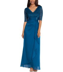 betsy & adam lace-top waterfall-detail gown