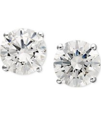 arabella 14k white gold earrings, swarovski zirconia round stud earrings (1-3/4 ct. t.w.)