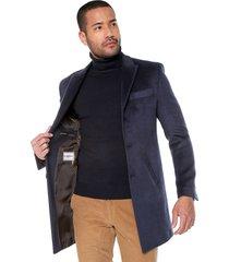 abrigo masculino azul oscuro 3/4 bolsillo sesgado los caballeros