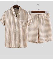 incerun - conjunto de pijama de algodón para hombre con estampado de cuadros y botones delanteros de manga corta