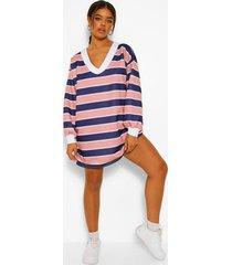 gestreepte sweatshirt jurk met hoge kraag, pink