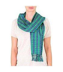 cotton scarf, 'emerald fields' (guatemala)