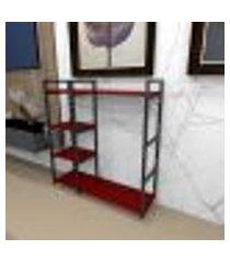 aparador industrial aço preto 90x30x98cm (c)x(l)x(a) mdf vermelho modelo ind44vrapr