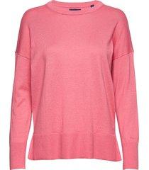 d1. cotton cashmere crew stickad tröja rosa gant