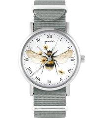 zegarek - bee natural - szary, nylonowy