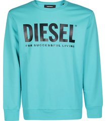 diesel turquoise cotton sweatshirt