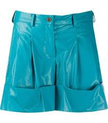 jejia faux leather shorts - blue