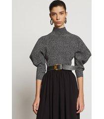 proenza schouler draped puff sleeve herringbone knit top black/off white m