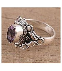 amethyst cocktail ring, 'ethereal tendrils' (india)