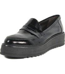 zapato mocasin cuero charol negro nara
