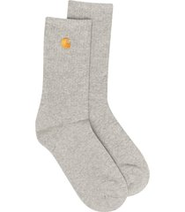 carhartt wip embroidered logo socks - grey