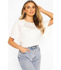 crochet detail smock top, ivory