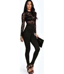 lacy high neck jumpsuit, black