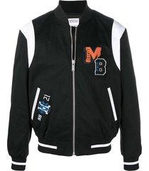 marcelo burlon county of milan mb college twill varsity jacket - black