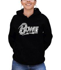 women's david bowie logo word art hooded sweatshirt