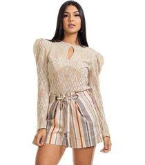 blusa clara arruda tricot abertura decote feminina