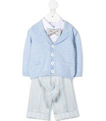 colorichiari suit-style cotton romper - blue