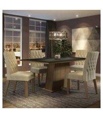 conjunto sala de jantar madesa ingrid mesa tampo de madeira com 4 cadeiras rustic/preto/imperial