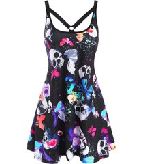 skull butterfly print o ring strappy tank dress
