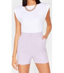 womens office hours high-waisted tailored shorts - lilac