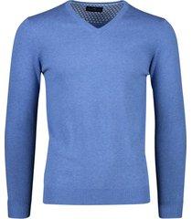 portofino pullover blauw v-hals katoen