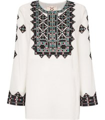 figue iris embroidered tunic top - neutrals