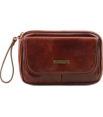 tuscany leather tl140849 ivan - borsello a mano in pelle marrone