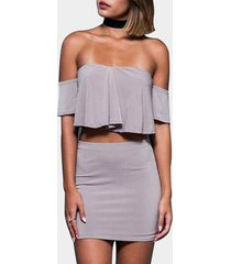 grey crop top & skirt with off shoulder