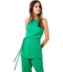 tunica decote cruzado verde bonfim