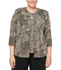 alex evenings plus size glitter-print jacket & top set