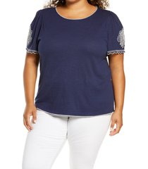 plus size women's caslon embroidered sleeve knit top, size 2x - blue