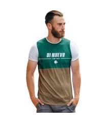 camiseta di nuevo lobo marrom e verde piscina