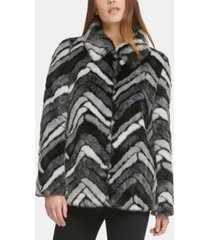 dkny faux-fur chevron coat