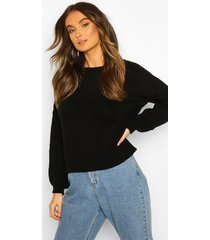 cable sleeve sweater, black