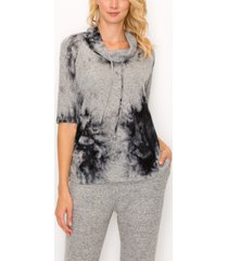 women's cozy tie-dye cowl neck side ruched top